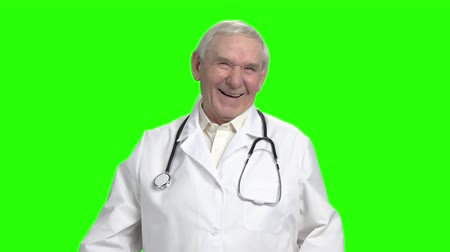 harts : Portrait of old doctor laughing, slow motion. Senior doctor heartily laughing out loud and holding stomach, slow motion.