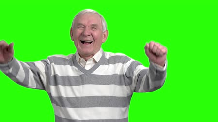 energized : Portrait of laughing granddad, slow-motion. Happy laughing grandpa putting hands up against green hromakey background.