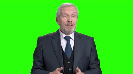 bonfile : Elderly businessman talking and gesturing with hand. Senior business man talking during presentation and using hand gestures, chroma key background. Stok Video