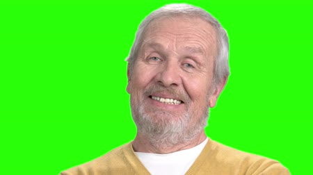 competence : Cheerful man on chroma key background. Happy elderly man smiling on alpha channel background. Stock Footage
