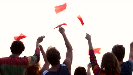 поясница : Chinese patriots with flags, back view. Group of people waving flags of China outdoors.