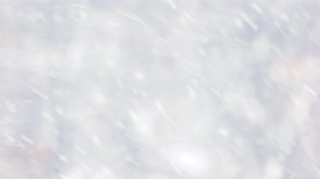 Winter forest blur background. Close up of slanting snow falling on blurred backdrop. Falling snow wallpaper.