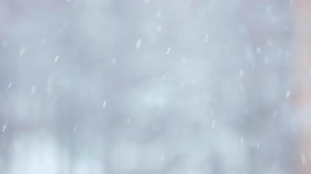 Slow motion of falling snow. Flying snowflakes falling on blurred background. Snowing winter outdoors. Стоковые видеозаписи