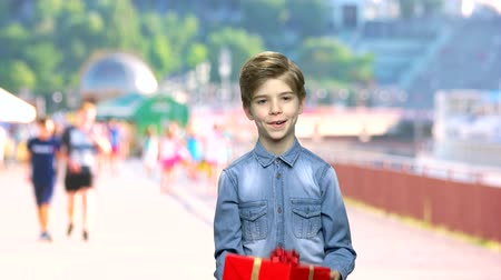 Cute boy with gift box on blurred background. Handsome child holding beautiful gift box.