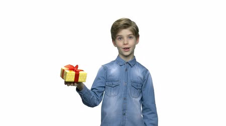 benefício : Portrait of surprised kid with gift box. Attractive boy holding box with present and looking at camera. Special holiday offer.