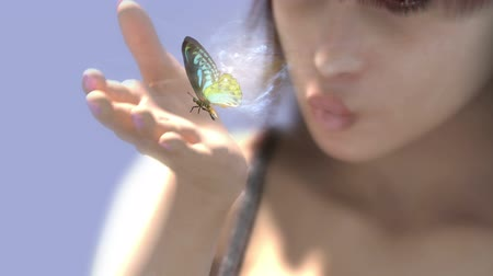 young woman with butterflies and alpha channel Filmati Stock