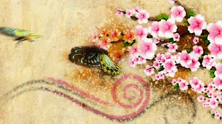 japan : old style decorative backdrop with growing paint flowers and butterfly in japan style