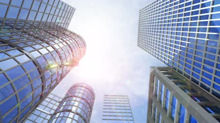 glass building : animated growing transforming buildings with flying butterfly Stock Footage