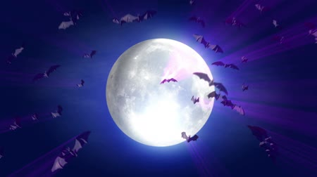 nietoperz : animated cartoon Halloween background  bat and moon with alpha mask
