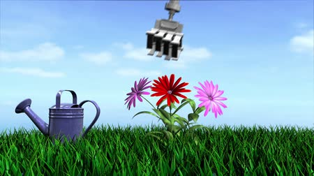robots : animated ecology conceptual background with watering can, flowers and growing grass
