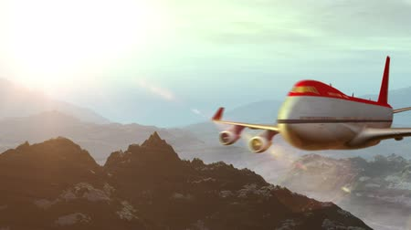 авиация :  animated intro with airplane flying over mountains landscape and sun flare