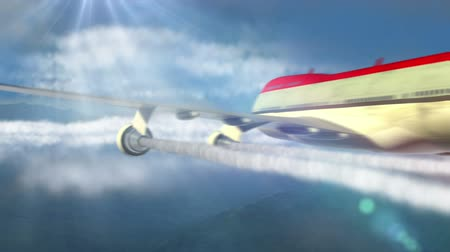 авиация :  animated intro with airplane flying over clouds