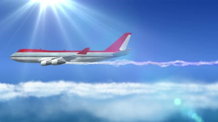 tourism :  animated intro with airplane flying over clouds with sun