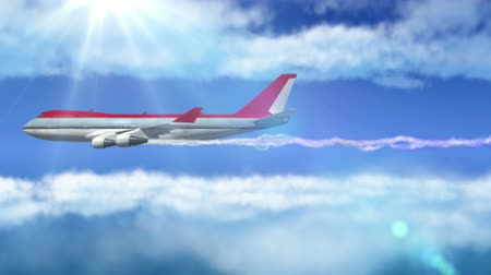 авиация :  animated intro with airplane flying over clouds with sun