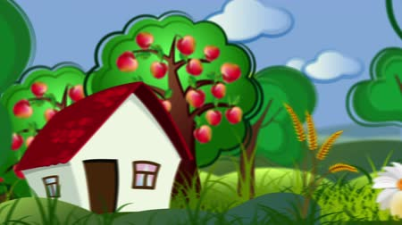 jardim : decorative cartoon concept video background with country side and building city Vídeos