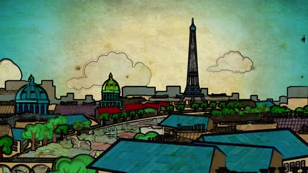 vacation : Europa tourism cartoon decorative skyline city capital video background footage
