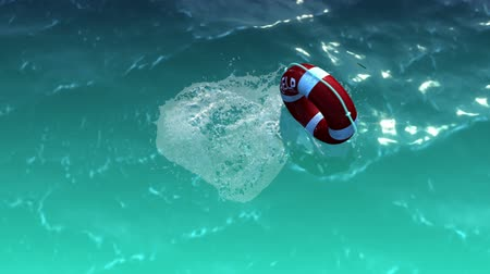 vida : White lifebuoy with red stripes and rope as help and freedom concept