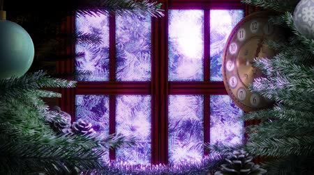 оформление : Holiday Christmas window with animated clock background