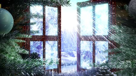 окно : animated Holiday Christmas window with winter landscape background