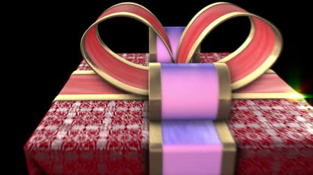 balík : Red gifts on black background. Holiday sale 3d animation