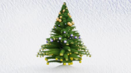 azevinho : Painted Growing Up Christmas tree with decorations and snow Stock Footage