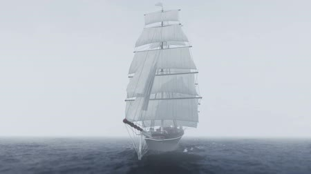 yatçılık : Ship sailing in rough seas with fog and clouds Stok Video