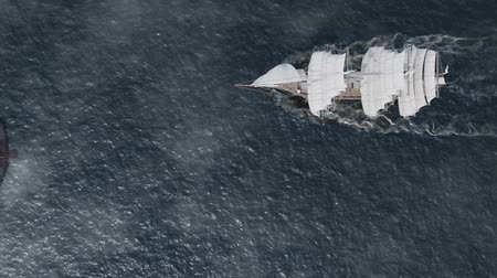 yatçılık : Ship sailing in rough seas aerial top view with flying eagle and clouds Stok Video