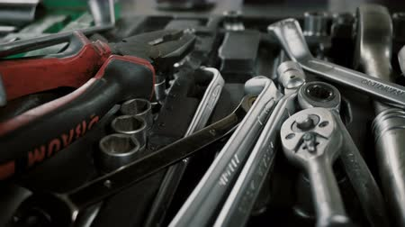 toolbox : A set of tools for repair Disassembled car at the car service