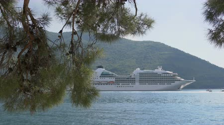 ancorado : Close up large international tourist liner ship moored in the port Stock Footage