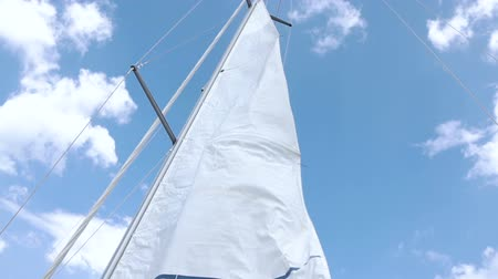 yatçılık : Sails of the sailing yacht in the wind. White sky background
