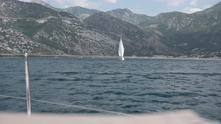 luxury yacht : View on yacht bow floating on Adriatic sea