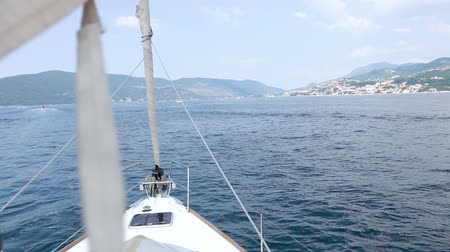 луки : View from yacht bow floating on Adriatic Sea in Montenegro