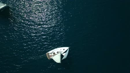 regata : Aerial view of a sailing yacht in the Adriatic sea