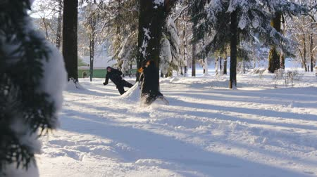 śnieżka : Happy couple playing snowball fight and having fun in snow in winter forest Wideo
