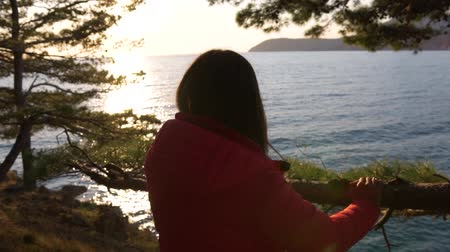 Girl relaxing in nature enjoying beautiful sunset landscape above the sea. Woman looking at sea view at sunset thinking about life Stockvideo