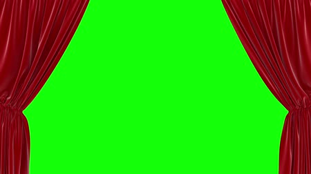 Animation of opening red curtain on green screen 影像素材