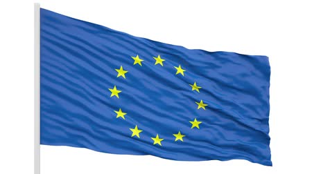 3d seamless looping Europe flag waving in the wind. Alpha mask included