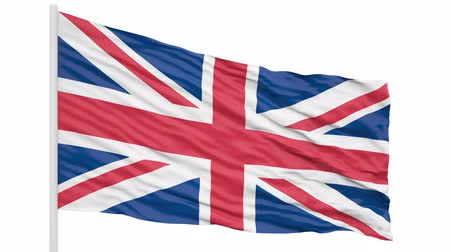 3d seamless looping of the United Kingdom flag waving in the wind. Alpha mask included