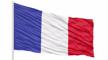 3d seamless looping of the France flag waving in the wind. Alpha mask included