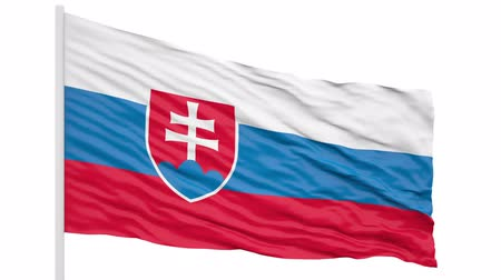 3d seamless looping of the Slovakia flag waving in the wind. Alpha mask included