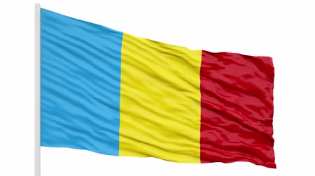 3d seamless looping of the Romania flag waving in the wind. Alpha mask included