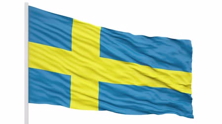 3d seamless looping of the Sweden flag waving in the wind. Alpha mask included 影像素材