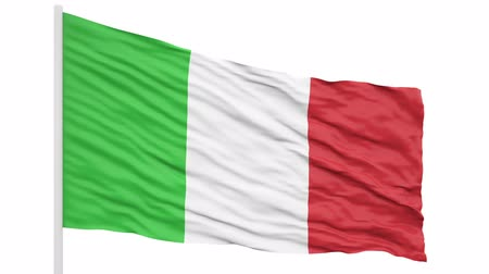 3d seamless looping of the Italy flag waving in the wind. Alpha mask included
