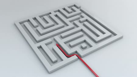 3d animation of red arrow going through maze
