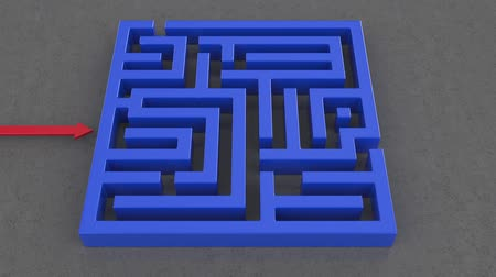 problem : 3d animation of red arrow goes through the maze destroying it. High definition 1080p animation Stock Footage