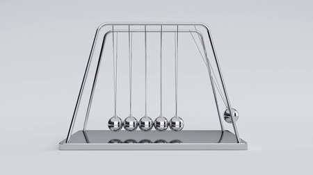 3d animation of newtons cradle with alpha channel at the end of the clip 影像素材