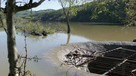 culvert : Old Drainage System In A Lake Stock Footage
