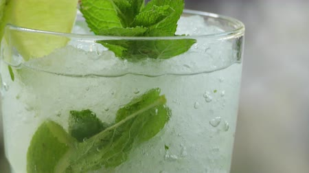 fodormenta : Glass Of Mojito Cocktail With Fresh Mint And Lime, Close Up Stock mozgókép