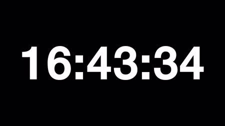 contagem regressiva : Countdown of 24 hours. Digital clock full 24h time-lapse - white numbers on black background. Timer with minutes and seconds. Vídeos