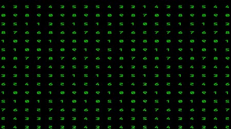 pryzmat : Animated numbers - digital rain. Green color code streams glowing on screen background.